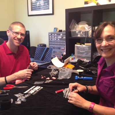 e-NABLE volunteers Jeremy and Alina Simon, working on e-NABLE devices
